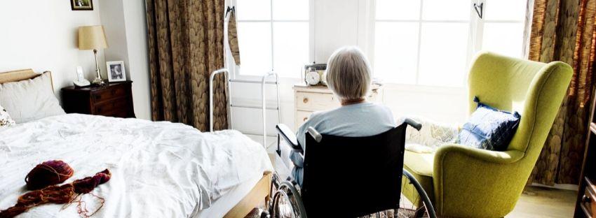 Elderly person alone in a nursing home