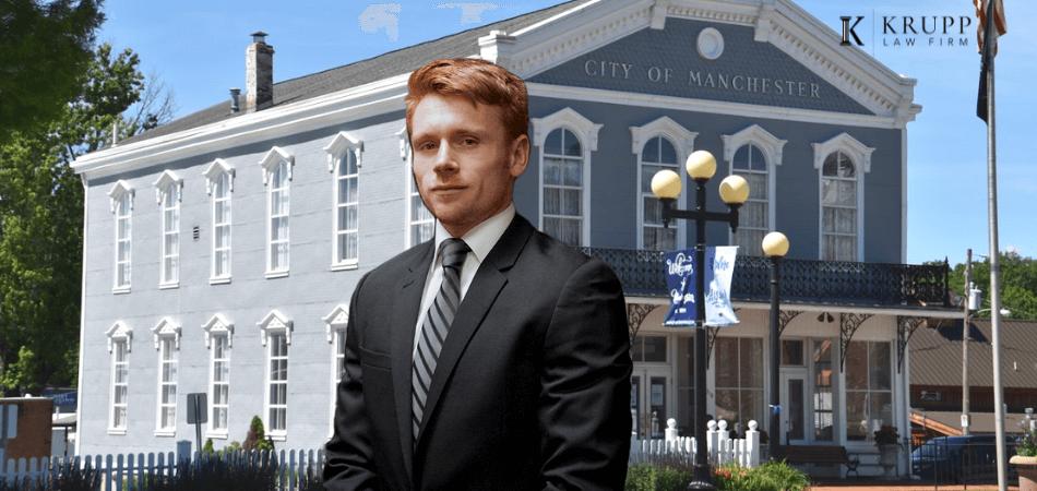 Ryan Krupp in front of Manchester MO municipal court